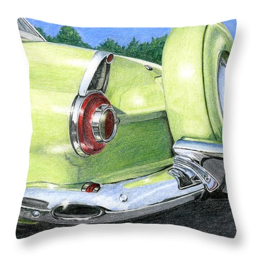 Classic Throw Pillow featuring the drawing 1956 Ford Thunderbird by Rob De Vries