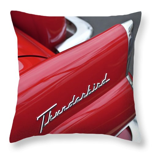 1956 Ford Thunderbird Throw Pillow featuring the photograph 1956 Ford Thunderbird Taillight Emblem 2 by Jill Reger