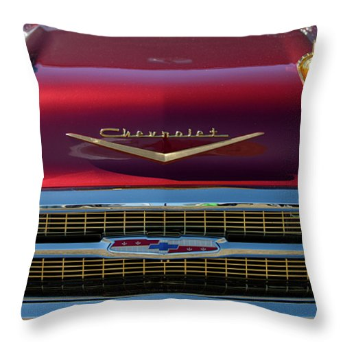 1957 Chevrolet Throw Pillow featuring the photograph 1957 Chevrolet Grille by Jill Reger
