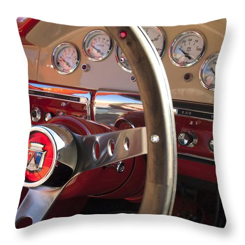 1957 Ford Fairlane Throw Pillow featuring the photograph 1957 Ford Fairlane Steering Wheel by Jill Reger