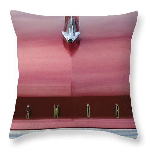 1958 Oldsmobile S-88 Throw Pillow featuring the photograph 1958 Oldsmobile S-88 Hood Ornament 2 by Jill Reger