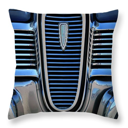 1959 Edsel Villager Throw Pillow featuring the photograph 1959 Edsel Villager Grille by Jill Reger