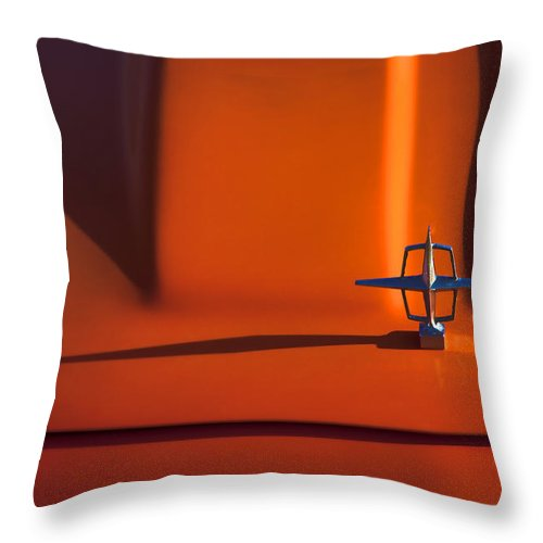 Lincoln; Continental; Orange; Classic Throw Pillow featuring the photograph 1964 Lincoln Continental Hood Ornament 1964 by Carol Leigh