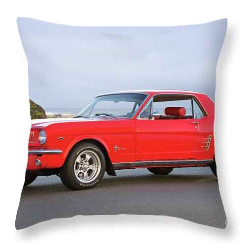 Auto Throw Pillow featuring the photograph 1965 Ford Mustang 'red Coupe' I by Dave Koontz
