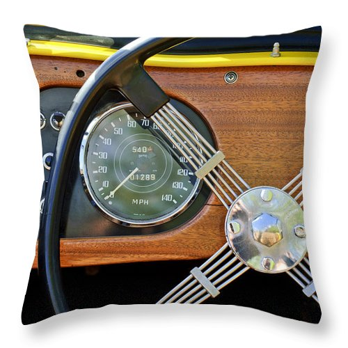 1965 Morgan Plus 4 Throw Pillow featuring the photograph 1965 Morgan Plus 4 Steering Wheel by Jill Reger