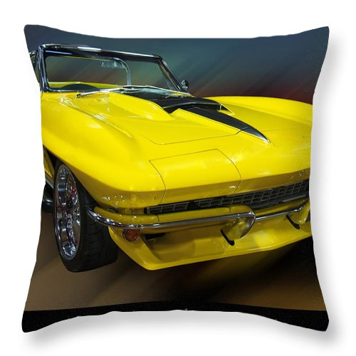 1960s Cars Throw Pillow featuring the photograph 1967 Chevy Corvette Convertible by Chris Flees