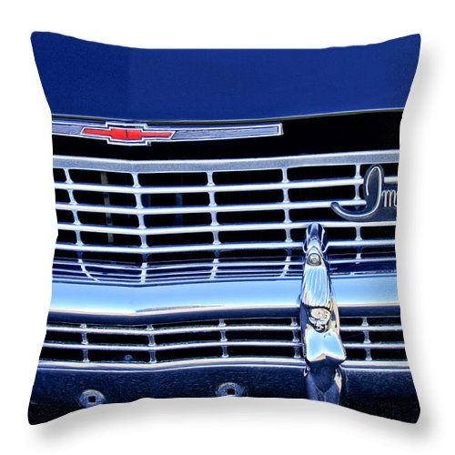 1968 Chevrolet Impala Ss Throw Pillow featuring the photograph 1968 Chevrolet Impala Ss Grille Emblem by Jill Reger