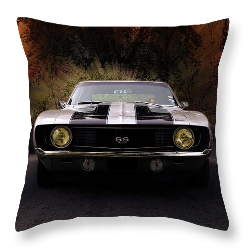 1969 Camaro Ss Throw Pillow featuring the photograph 1969 Camaro Ss by Hotte Hue