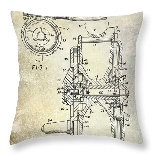 Fishing Reel Patent Throw Pillow featuring the photograph 1969 Fly Reel Patent by Jon Neidert