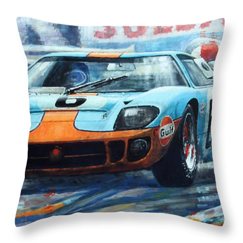 Paintings Throw Pillow Featuring The Painting  Le Mans  Ford Gt  Ickx Oliver Winner