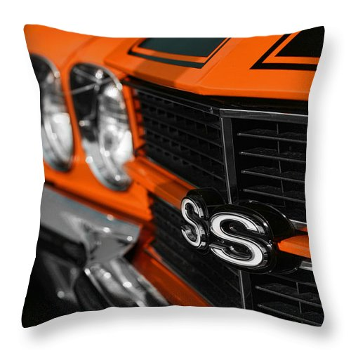 Orange Throw Pillow featuring the photograph 1970 Chevelle Ss396 Ss 396 Orange by Gordon Dean II