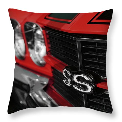 1970 Throw Pillow featuring the photograph 1970 Chevelle Ss396 Ss 396 Red by Gordon Dean II