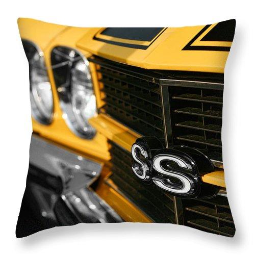 1970 Throw Pillow featuring the digital art 1970 Chevelle Ss396 Ss 396 Yellow by Gordon Dean II