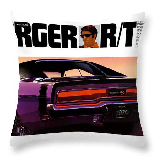 1970 Throw Pillow featuring the digital art 1970 Dodge Charger Rt by Digital Repro Depot