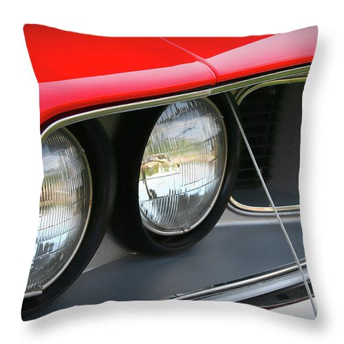 1971 Throw Pillow featuring the photograph 1971 Plymouth Barracuda Cuda Red by Gordon Dean II