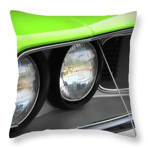 426 Throw Pillow featuring the photograph 1971 Plymouth Barracuda Cuda Sublime Green by Gordon Dean II