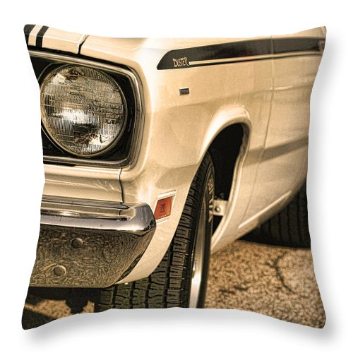 1970 Throw Pillow featuring the photograph 1971 Plymouth Duster 340 Four Barrel by Gordon Dean II