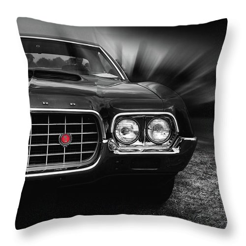 1972 Ford Gran Torino Throw Pillow featuring the photograph 1972 Ford Gran Torino, Sport Fastback by Hotte Hue