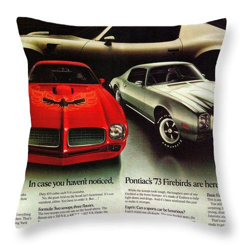 1973 Throw Pillow featuring the digital art 1973 Pontiac Firebird Trans Am by Digital Repro Depot