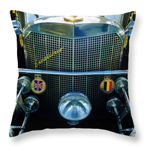 1984 Excalibur Roadster Throw Pillow featuring the photograph 1984 Excalibur Roadster Grille by Jill Reger