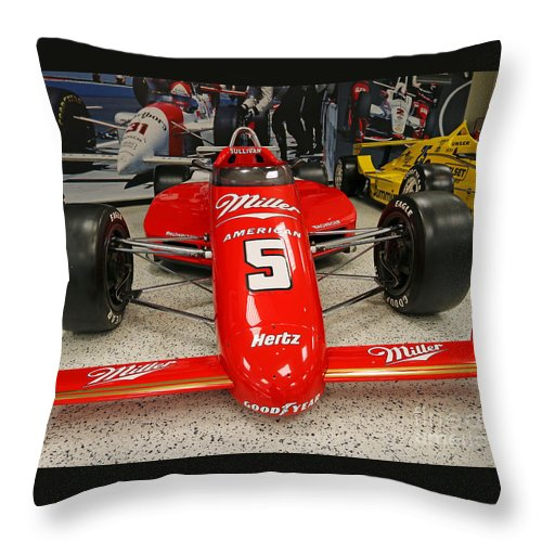 Indianapolis Throw Pillow featuring the photograph 1985 Indy 500 Winner Danny Sullivan by Steve Gass