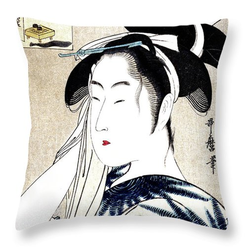 Japanese Throw Pillow featuring the painting 19th C. Portrait Of A Japanese Geisha by Historic Image