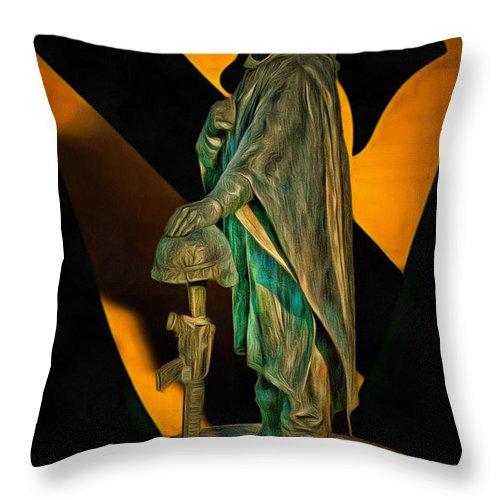 Soldier Throw Pillow featuring the digital art 1st Cav History - Respect From Another Trooper To Another - Oil by Tommy Anderson