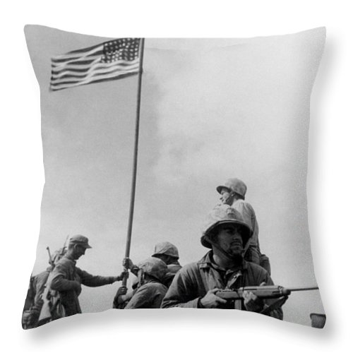 Iwo Jima Throw Pillow featuring the photograph 1st Flag Raising On Iwo Jima by War Is Hell Store
