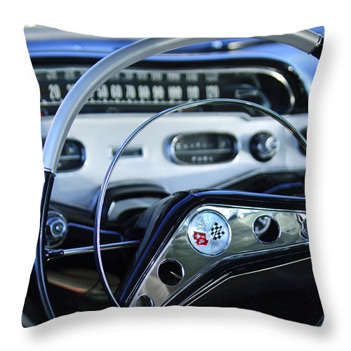 1958 Chevrolet Impala Throw Pillow featuring the photograph 1958 Chevrolet Impala Steering Wheel by Jill Reger