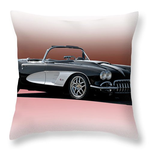 Auto Throw Pillow featuring the photograph 1958 Corvette 'retro' Convertible by Dave Koontz