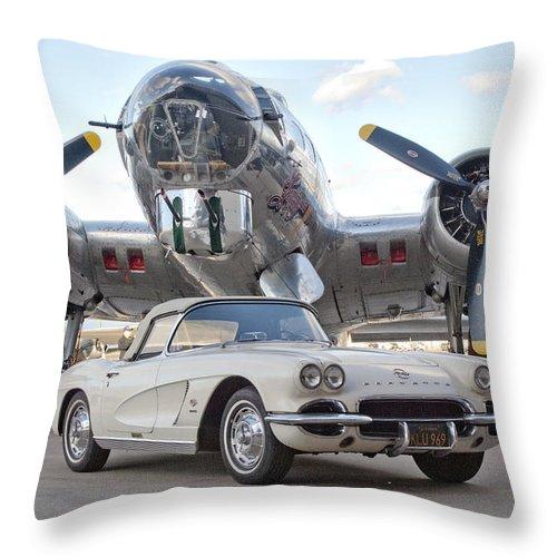 1962 Chevrolet Corvette Throw Pillow featuring the photograph 1962 Chevrolet Corvette by Jill Reger