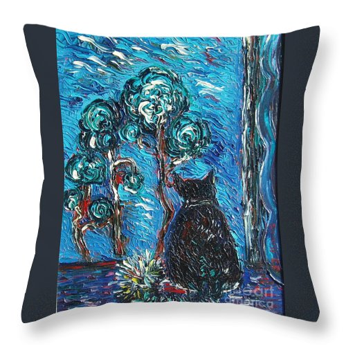 Cat Paintings Throw Pillow featuring the painting A Black Cat by Seon-Jeong Kim