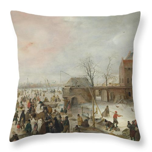 Painting Throw Pillow featuring the painting A Scene On The Ice Near A Town by Hendrick Avercamp