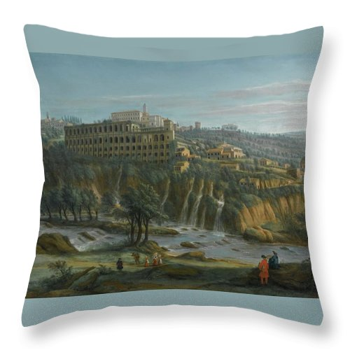 Gaspar Van Wittel Throw Pillow featuring the painting A View Of The Waterfalls And The Villa Of Maecenas by MotionAge Designs
