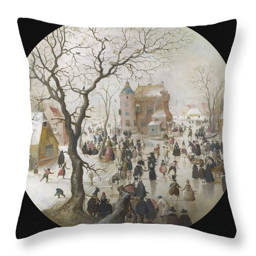 Painting Throw Pillow featuring the painting A Winter Scene With Skaters Near A Castle by Hendrick Avercamp