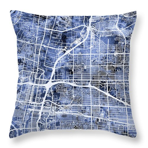 Street Map Throw Pillow featuring the digital art Albuquerque New Mexico City Street Map by Michael Tompsett