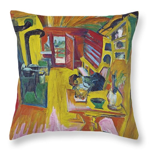 Architectural Throw Pillow featuring the painting Alpine Kitchen by Ernst Ludwig Kirchner