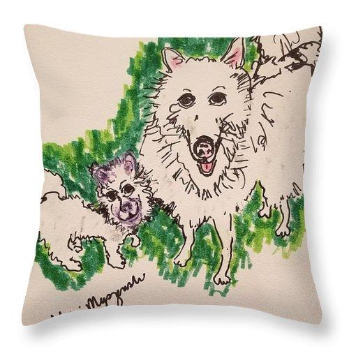American Eskimo Dog Throw Pillow featuring the drawing American Eskimo Dog by Geraldine Myszenski