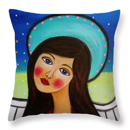 Angel Throw Pillow featuring the painting Angel by Pristine Cartera Turkus