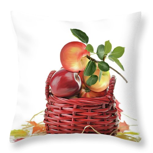 Apple Throw Pillow featuring the digital art Apples In A Basket by Svetlana Foote