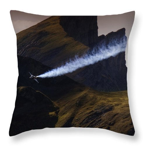 Patrouille Suisse Throw Pillow featuring the photograph Axalp Airshow by Angel Ciesniarska