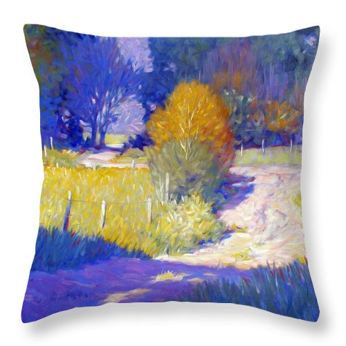Landscape Throw Pillow featuring the painting Back Road by Kevin Lawrence Leveque