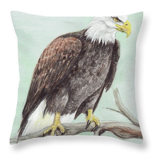America Throw Pillow featuring the painting Bald Eagle by Morgan Fitzsimons