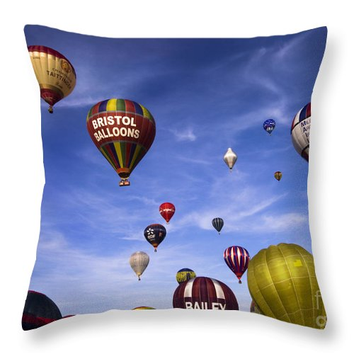 Balloon Fiesta Throw Pillow featuring the photograph Balloon Fiesta by Angel Ciesniarska