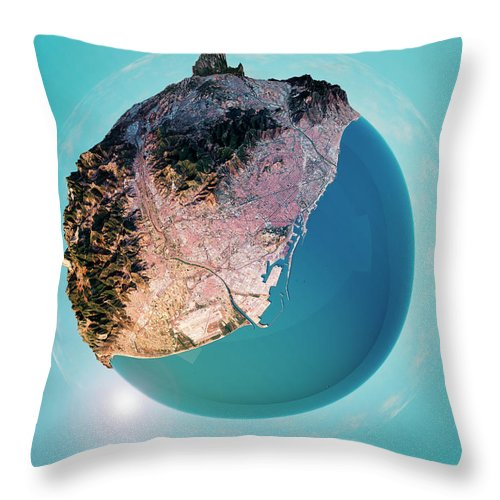 Barcelona Throw Pillow featuring the digital art Barcelona 3D Little Planet 360-Degree Sphere Panorama by Frank Ramspott