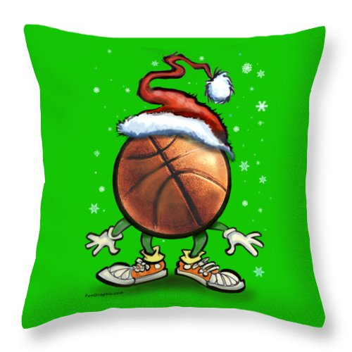 Basketball Throw Pillow featuring the digital art Basketball Christmas by Kevin Middleton