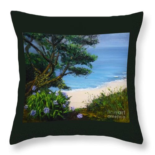 Bel-ile Throw Pillow featuring the painting Bel Ile En Mer by Lizzy Forrester