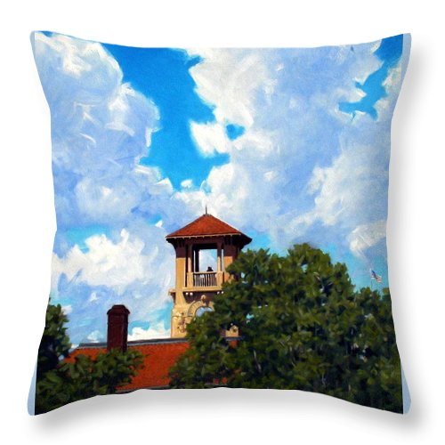 Sky Throw Pillow featuring the painting Bell Tower by Kevin Lawrence Leveque