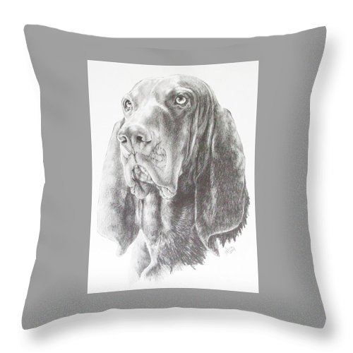 Purebred Dogs Throw Pillow featuring the drawing Black And Tan Coonhound by Barbara Keith