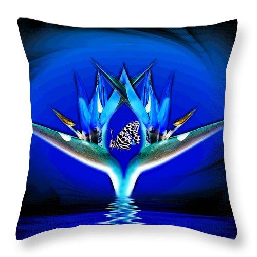 Bird Of Paradise Throw Pillow featuring the digital art Blue Bird Of Paradise by Joyce Dickens